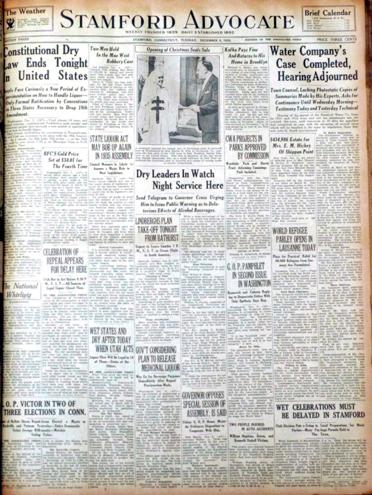 The front page of the Stamford Advocate, Tuesday, December 5, 1933, marks the end of Prohibition. However, you still cannot buy food and liquor in the same store in Connecticut, says Francois Steichen.