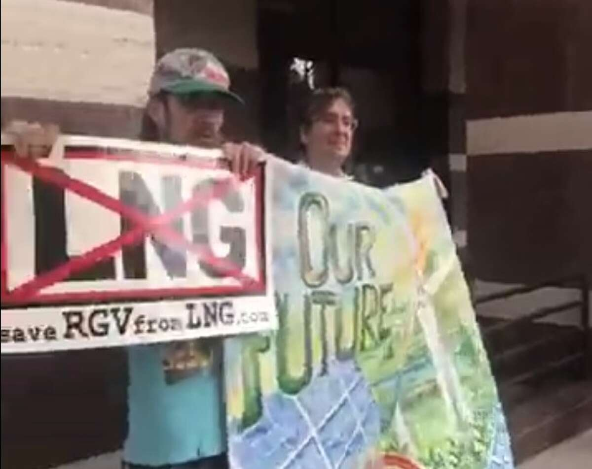 Protestors participate in a rally against Houston liquefied natural gas company Texas LNG outside the Texas State Office of Administrative Hearings in Austin. The agency has been tasked with decided a state permit for the proposed LNG export terminal project at the Port of Brownsville.