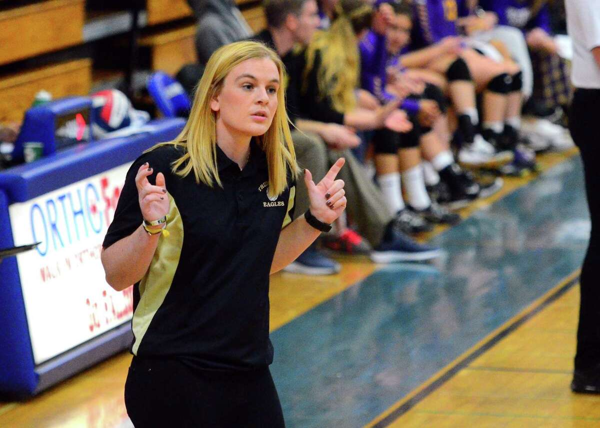 Trumbull Head Coach: Nicole Trommelen during FCIAC girls volleyball championship action against Westhill at Fairfield Ludlowe High in Fairfield, Conn. on Saturday, Nov. 3, 2018.
