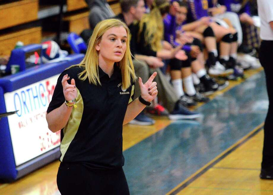 Trumbull Head Coach: Nicole Trommelen during FCIAC girls volleyball championship action against Westhill at Fairfield Ludlowe High in Fairfield, Conn. on Saturday, Nov. 3, 2018. Photo: Christian Abraham / Hearst Connecticut Media / Connecticut Post