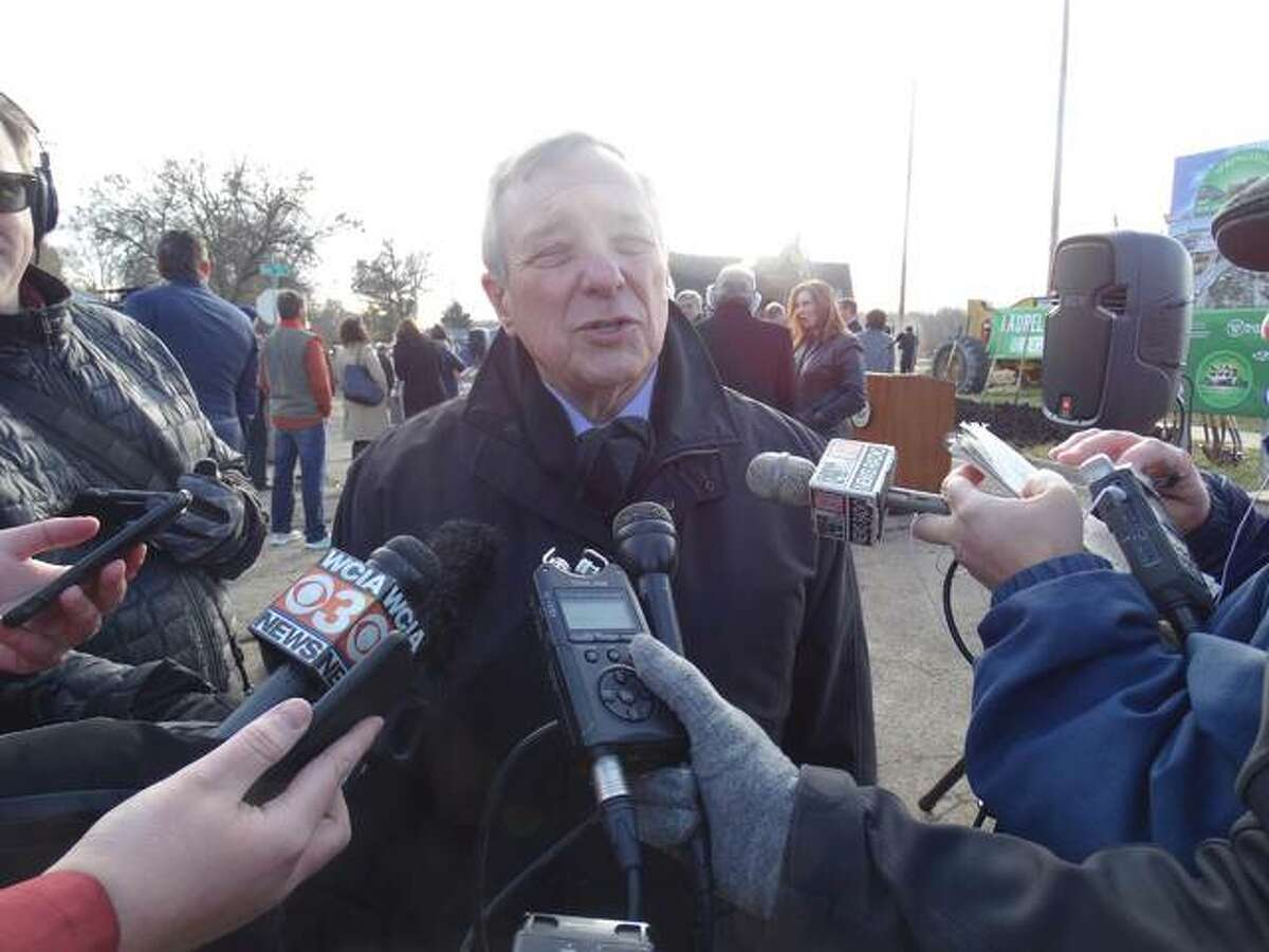 Democratic U.S. Sen. Dick Durbin of Illinois speaks with reporters Friday in Springfield about the possibility of the impeachment of President Donald Trump. (Capitol News Illinois photo by Peter Hancock)