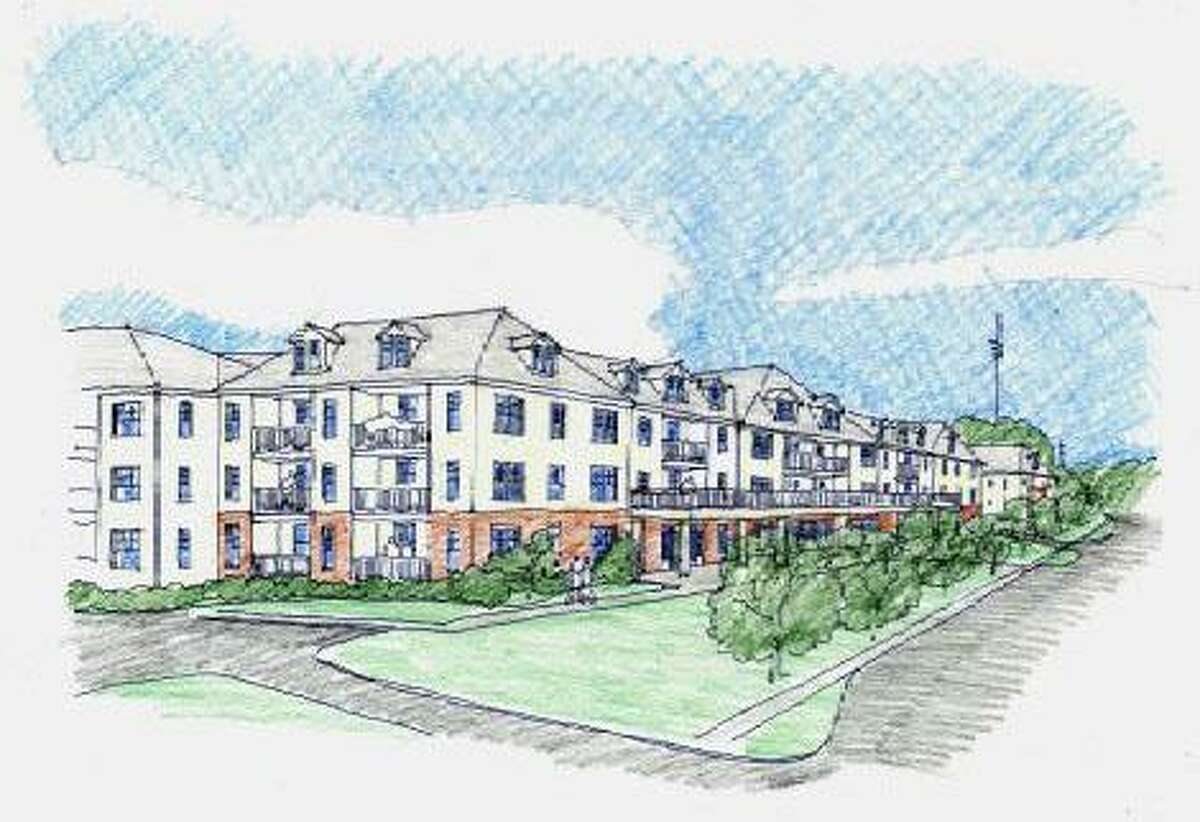 A rendering of the newly redesigned apartment complex called The Renaissance that is proposed for 777 and 763 Federal Road in Brookfield. The new design is three stories above ground and includes some first floor retail space. April 2016