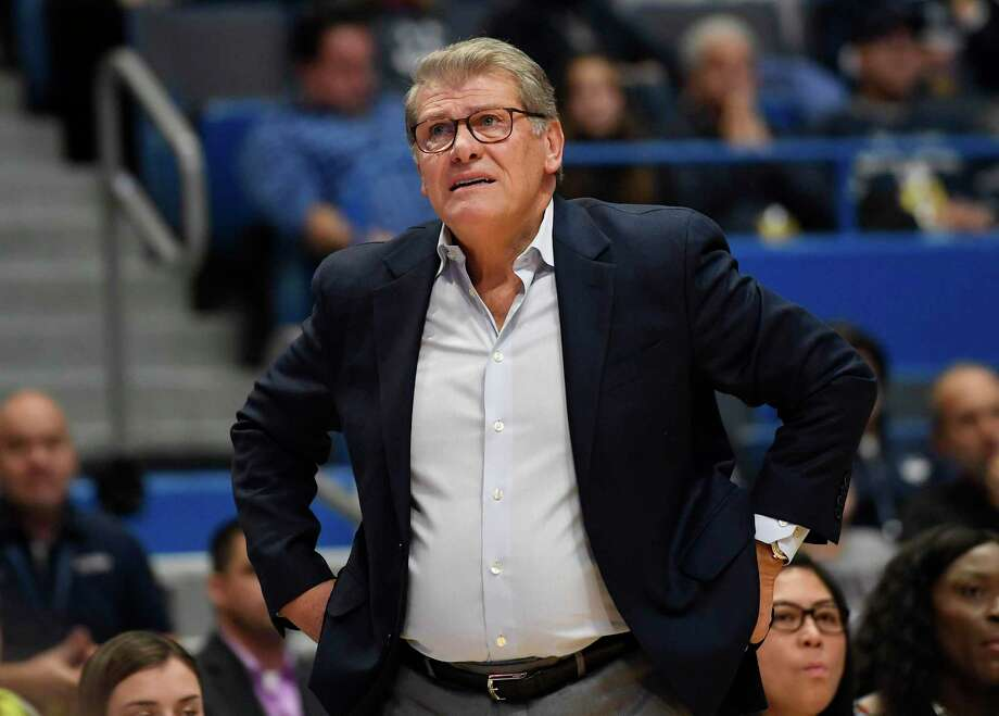 UConn coach Geno Auriemma will miss the game against Oklahoma Sunday as he recovers from a surgical procedure. Photo: Jessica Hill / Associated Press / Copyright 2019 The Associated Press. All rights reserved