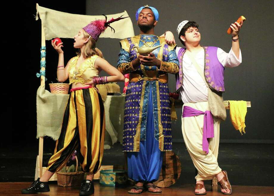 Lilly Herrera as Iago, Jokobe Hebert as the Genie, and Jessie Taylor Garcia as Aladdin practice after school in preparation for their approaching show, Aladdin. Photo: David Taylor / Staff Photo