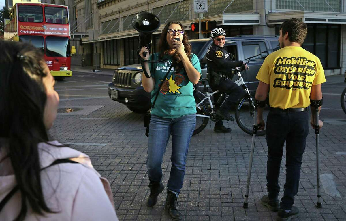 In this November 2019 photo, Joleen Garcia of the Texas Organizing Project leads a group of protesters voicing against Judge Peter Sakai's decision to prevent the paid sick leave ordinance from taking effect Dec. 1.