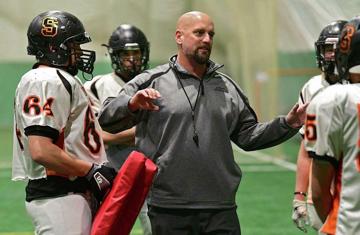 Schuylerville football coach John Bowen talks to his players during practice in the Adirondack Sports Complex on Wednesday, Nov. 20, 2019 in Queensbury, N.Y. (Lori Van Buren/Times Union)