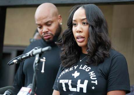 """Nakia Price addresses allegations of a lawsuit filed by a small group of residential neighbors as her husband and Lyndell """"Lynn"""" stood by her side Friday, Nov. 22, 2019, in Houston."""