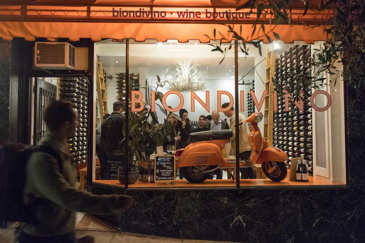 Biondivino has a variety of bottle-fermented sparkling wine at their wine shop on Russian Hill. Biondivino hosted a wine tasting on Tuesday, Nov. 19, 2019 in San Francisco, Calif.