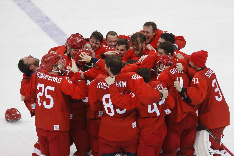 """With Russia banned from the 2018 Winter Olympics in Pyeong- chang, South Korea, a group of cleared athletes competing as """"Olympic Athletes from Russia"""" won the gold medal in men's hockey. A similar designation for Russian athletes cleared to compete in Tokyo could happen. Photo: Jae C. Hong / Associated Press"""