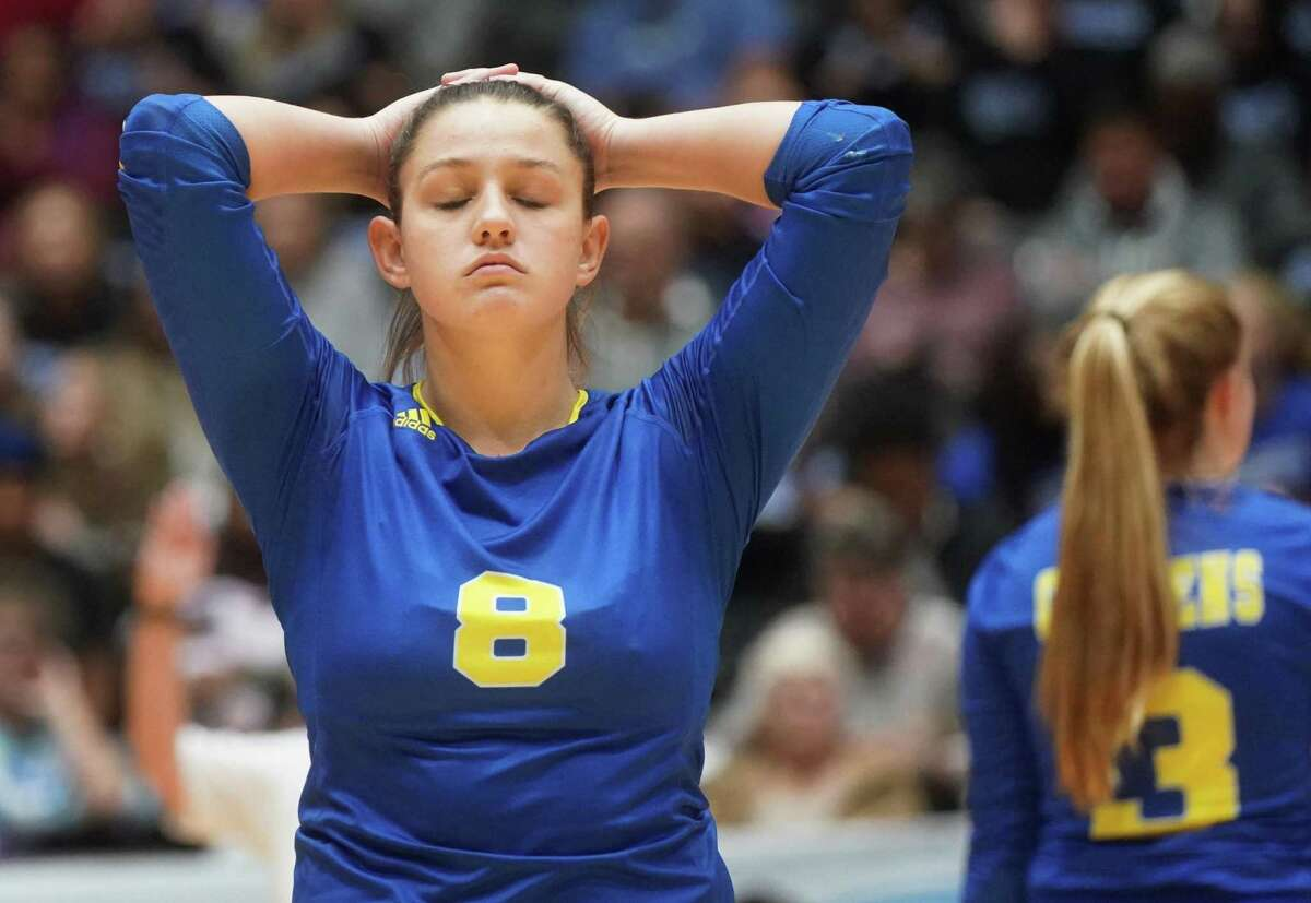 Clemens' Canada Buchanan (8) reacts to mishitting a spike during the Schertz Clemens High School vs. Northwest Byron Nelson High School state semifinal volleyball match on Friday, November 22, 2019 at the Curtis Culwell Center in Garland, Texas. Nelson won 3 games to 0. CREDIT: Louis DeLuca for the San Antonio Express News