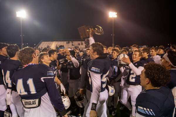 Greenwood celebrates winning against Aubrey for the Class 4A Division II area playoff game Friday, Nov. 22, 2019 at Clyde Football Stadium. Jacy Lewis/Reporter-Telegram