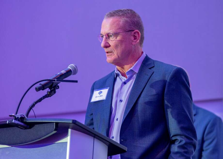 Port Neches-Groves grad David Mire speaking at his induction into the Sam Houston State Hall of Honor. Mire was an All-American outfielder or the Bearkats Photo: Brian Blaylock / Special To The Enterprise