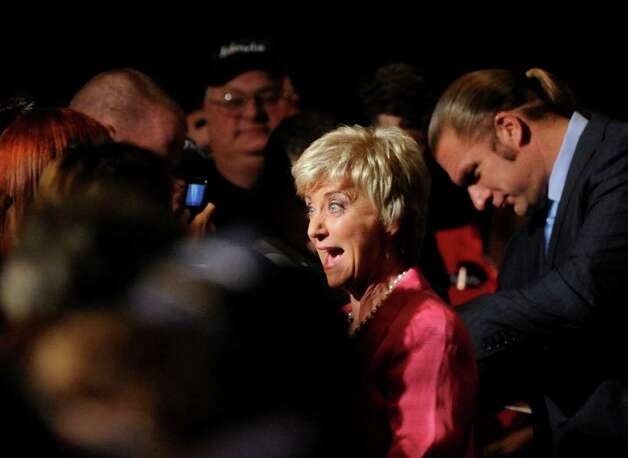 Linda McMahon, greets the crowd at the Crowne Plaza Hotel to celebrate her victory in the Republican primary for U.S. Senate, Tuesday evening, August 10, 2010, Cromwell, Connecticut. Photo: Bob Luckey
