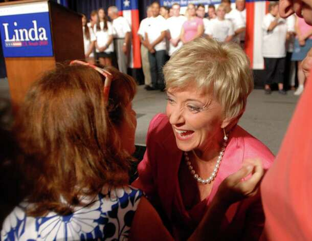 Republican candidate for the Senate, Linda McMahon, interacts with a supporter as she celebrates her victory in the Republican primary for U.S. Senate, Tuesday evening, August 10, 2010, at the Crowne Plaza Hotel, Cromwell, Connecticut. Photo: Bob Luckey, Greenwich Time / Greenwich Time