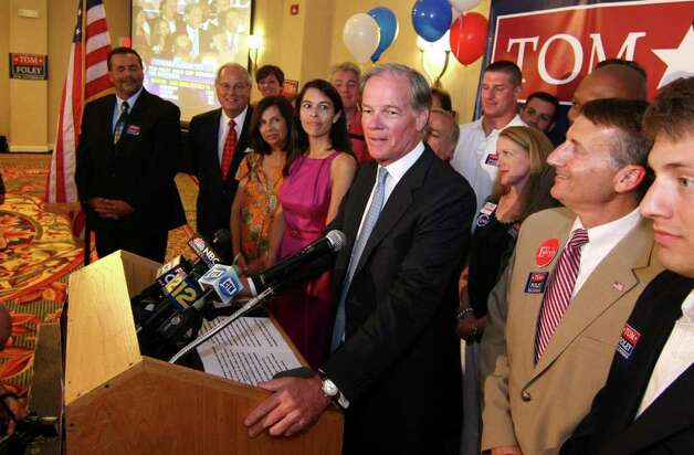 Tom Foley, Republican candidate for Governor addresses supporters at his primary day party at the Mariott Hotel in Rocky Hill, Conn. on Tuesday August 10, 2010. Photo: Christian Abraham / Connecticut Post