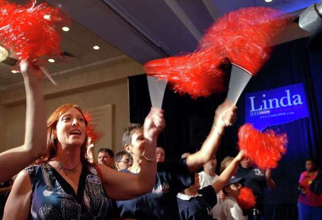 Laura Bush of Vernon, Conn., cheers on Republican candidate for the Senate Linda McMahon, during a victory celebration for McMahon in the republican primary for U.S. Senate, Tuesday evening, August 10, 2010, at the Crowne Plaza Hotel, Cromwell, Connecticut. Photo: Bob Luckey / Greenwich Time