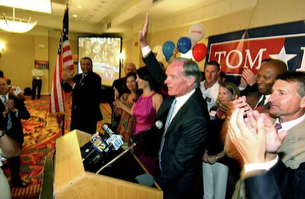 Tom Foley, Republican candidate for Governor, addresses supporters at his primary day party at the Mariott Hotel in Rocky Hill, Conn. on Tuesday August 10, 2010. Photo: Christian Abraham / Connecticut Post