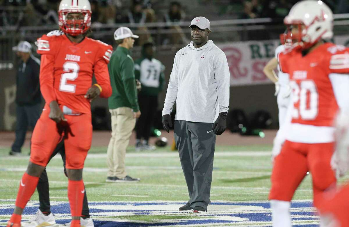 Judson head football coach Rodney Williams oversees his players before the game against Reagan in the second round of Class 6A Div. I playoffs at Alamo Stadium on Friday, Nov. 22, 2019.