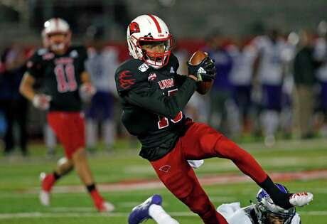 UIW wide receiver Jaelin Campbell avoids scores on a reception in the first half. UIW v Central Arkansas on Friday, November 22, 2019. Halftime score is Central Arkansas 24 UIW 14.
