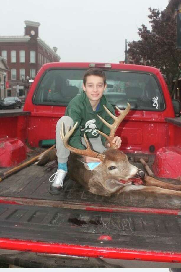 Griffin Babbitt, 12, of Stanwood shot this 10-point buck in the Stanwood area on opening day. (Pioneer photo/John Raffel)