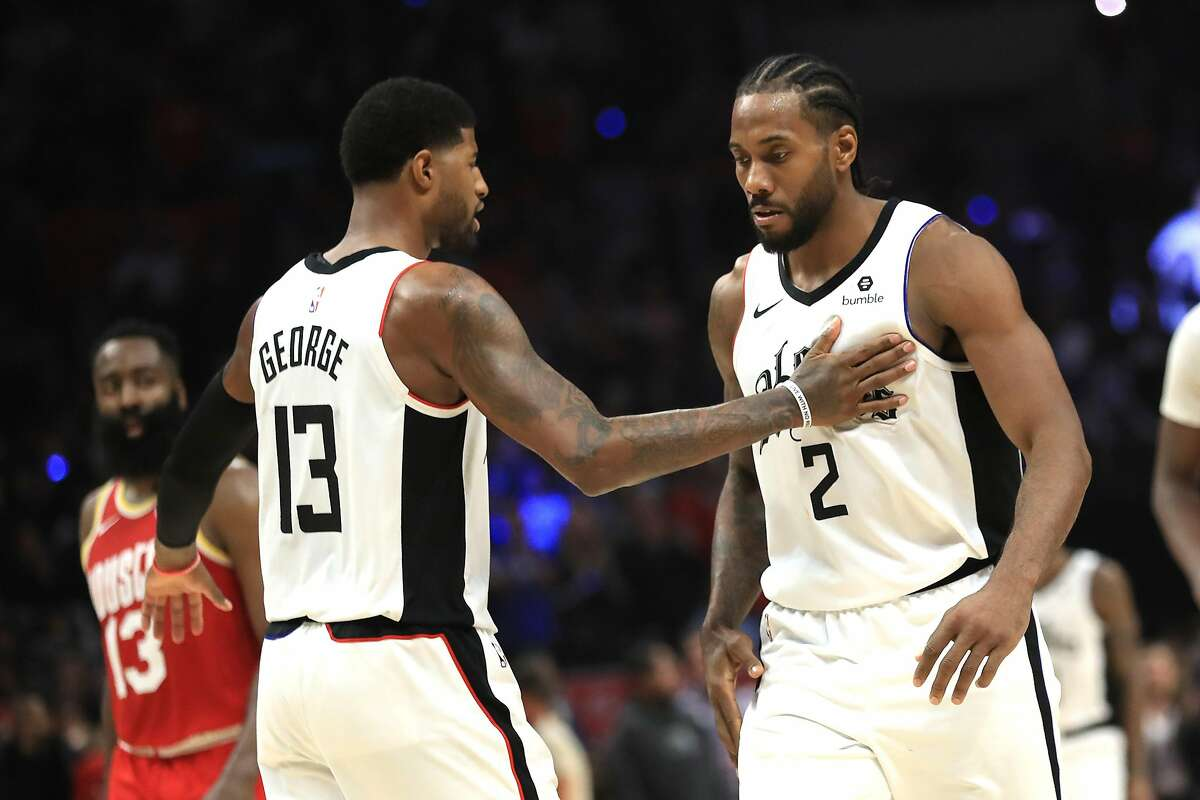 Kawhi Leonard and Paul George of the Los Angeles Clippers in 2019.