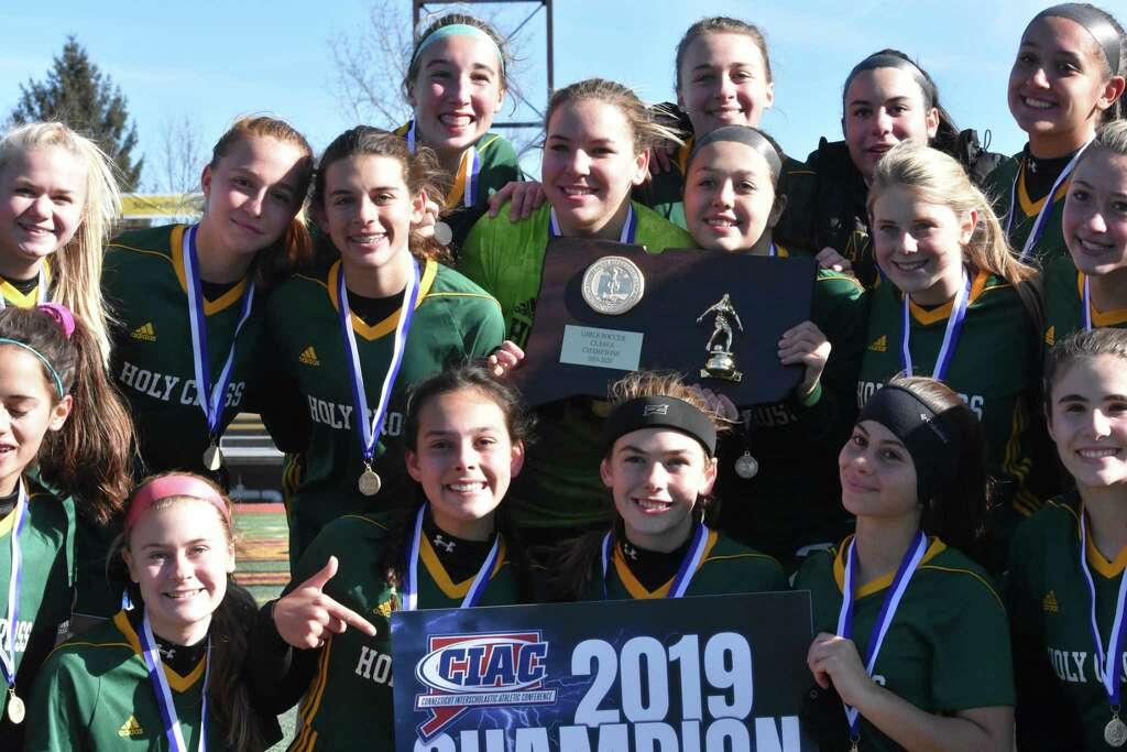<p>Holy Cross is the Class S girls soccer state champion after beating Old Lyme 1-0 at Veterans Stadium, New Britain on Saturday, Nov. 23, 2019. (Pete Paguaga, Hearst Connecticut Media)</p>
