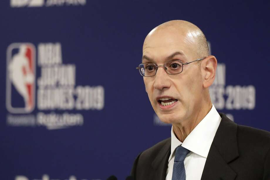 FILE - In this Oct. 8, 2019, file photo, NBA Commissioner Adam Silver speaks at a news conference before an NBA preseason basketball game between the Houston Rockets and the Toronto Raptors in Saitama, Japan. A person familiar with the negotiations says the NBA is working with the players' union and its teams on a plan to shorten the regular season, possibly to 78 games. (AP Photo/Jae C. Hong, File) Photo: Jae C. Hong / Associated Press