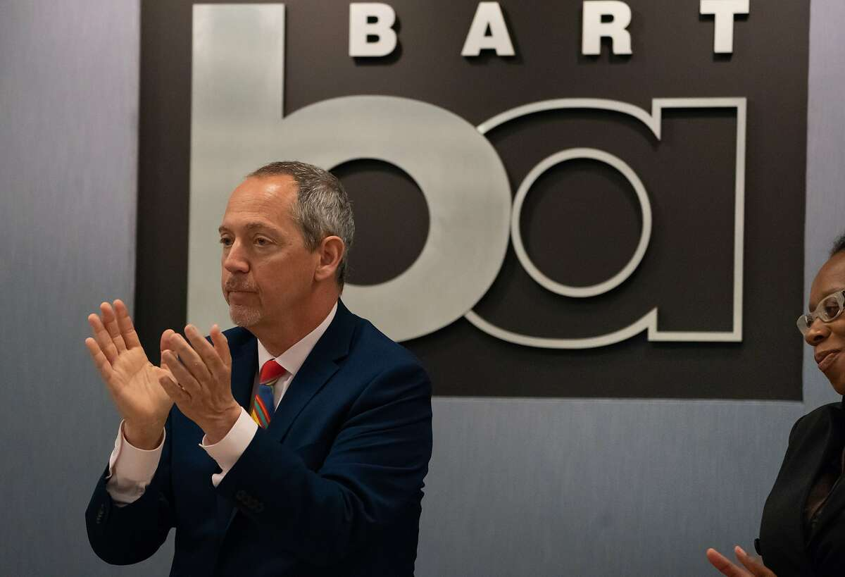 BART Board Directors Bevan Dufty (President) and Lateefah Simon applaud the selection of Robert Powers to take over as BART's tenth General Manager on Thursday, July 25, 2019, in Oakland, CA.