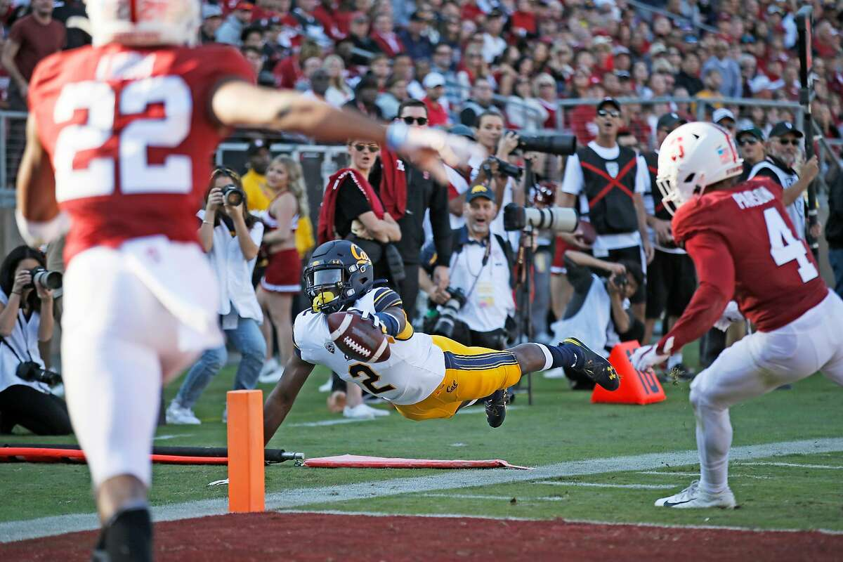 A flag against the offense was called and the play was nulled after California Golden Bears wide receiver Jordan Duncan (2) dives for extra yardage against the Stanford Cardinal in the first half of the 122nd Big Game at Stanford Stadium on Saturday, Nov. 23, 2019, in Stanford, Calif.