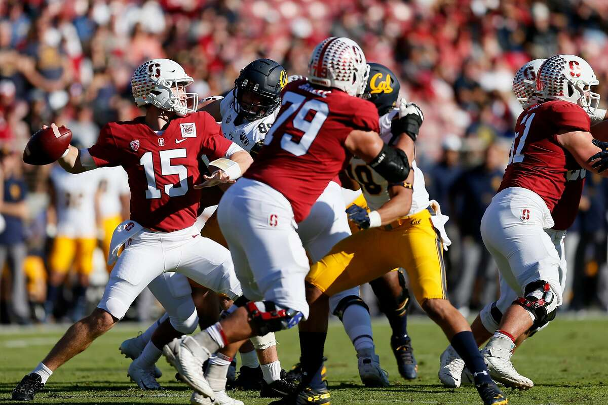 Stanford quarterback Davis Mills passes against Cal in the first half of the 122nd Big Game at Stanford Stadium in 2019.