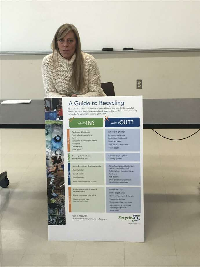 Jennifer Fascitelli of the Wilton Department of Public Works discusses recycling at the Nov. 14 Wilton League of Women Voters meeting. Photo: Contributed Photo / Wilton League Of Women Voters / Wilton Bulletin Contributed