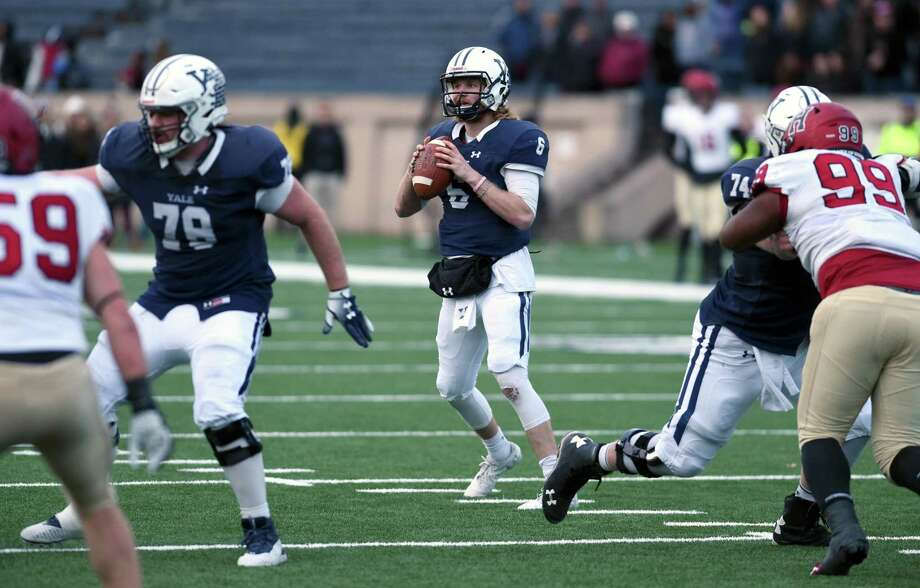 Yale quarterback Kurt Rawlings was named one of two finalists for the Ivy League Offensive Player of the Year on Tuesday. Photo: Arnold Gold / Hearst Connecticut Media / New Haven Register
