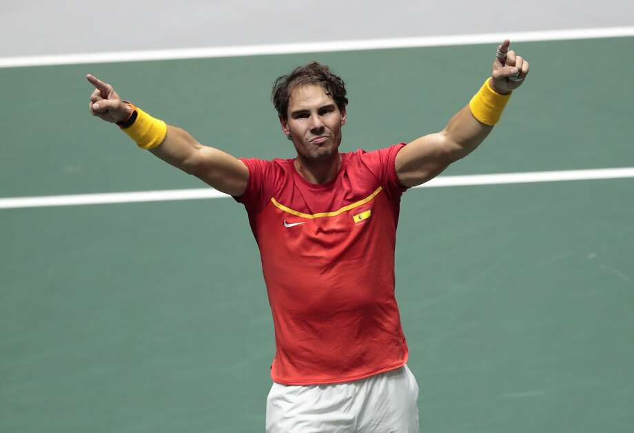 Spain's Rafael Nadal celebrates after winning their Davis Cup semifinal doubles match with his partner Feliciano Lopez against Great Britain's Jamie Murray and Neal Skupski in Madrid, Spain, early Sunday, Nov. 24, 2019. (AP Photo/Bernat Armangue) Photo: Bernat Armangue / Associated Press
