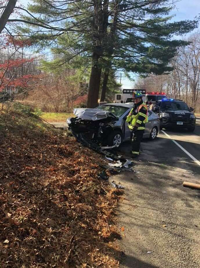 Fire officials said there were two motor vehicle crashes within an hour Saturday. Photo: Contributed Photo / Monroe Volunteer Fire Department