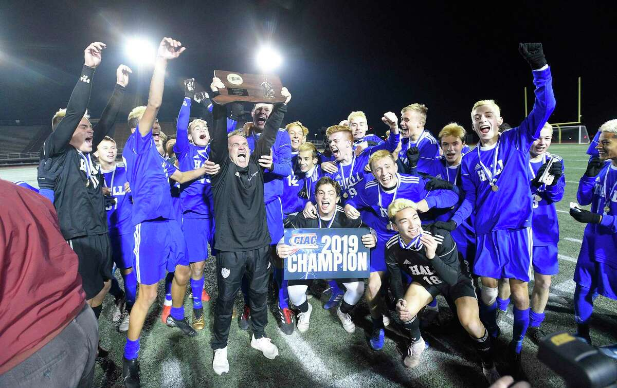 Hall defeats Greenwich 3-1 in a CIAC Class LL Boys Soccer State Championship at Veterans Memorial Stadium on Nov. 23, 2019 in New Britian, Connecticut.