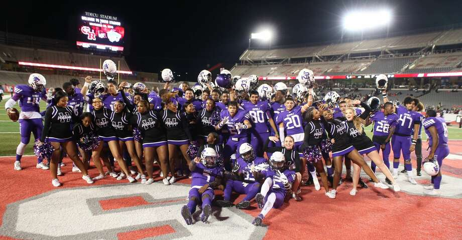 Humble Wildcats celebrate defeating the George Ranch Longhorns in a high school playoff football game on November 23, 2019 at TDECU Stadium in Houston, TX. Humble won 28 to 21. Photo: Thomas B. Shea/Contributor