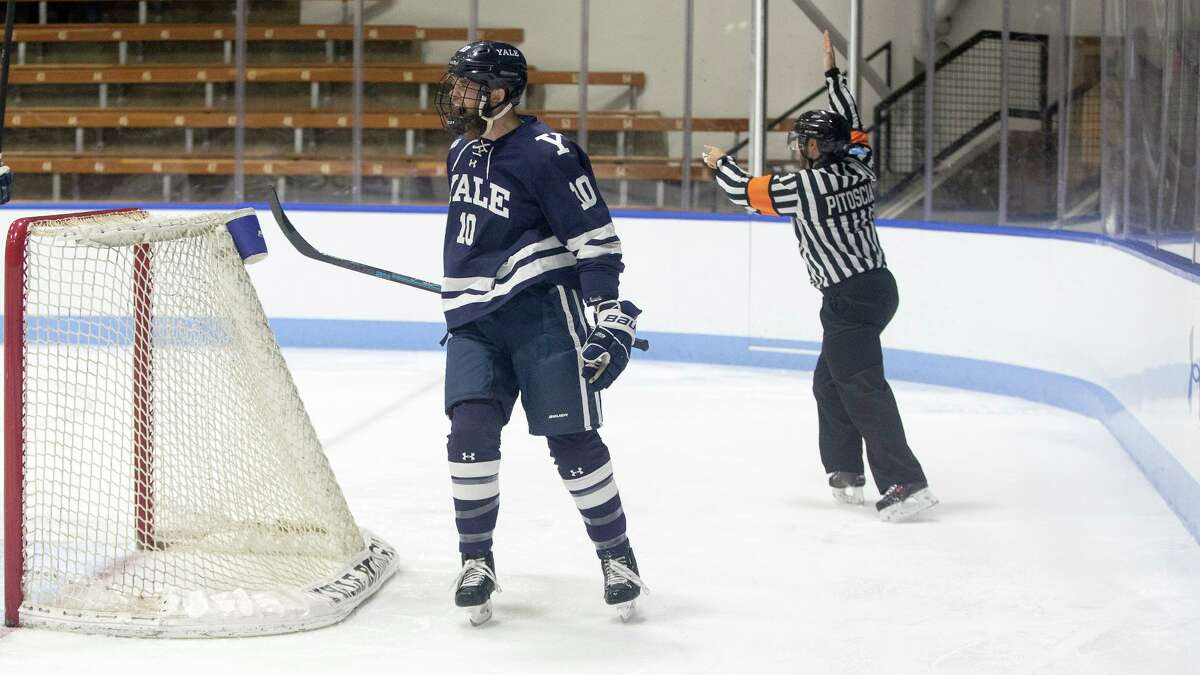 Chandler Listrand celebrates his scoring Yale's first goal.