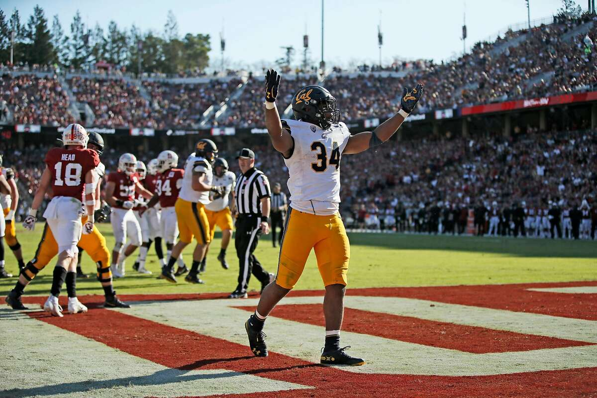 California Golden Bears running back Christopher Brown Jr. (34) celebrates a touchdown in the first half of the 122nd Big Game against the Stanford Cardinal at Stanford Stadium on Saturday, Nov. 23, 2019, in Stanford, Calif.