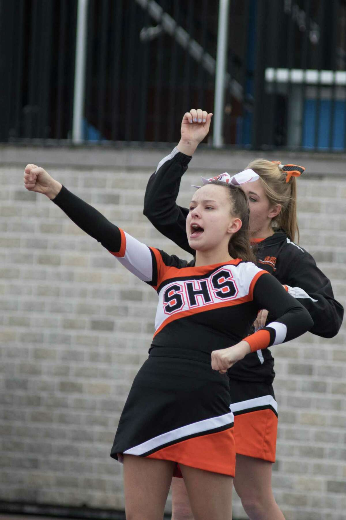 Schuylerville's Cheerleaders cheer for their team in the NYSPHSAA Class B Football East Semifinals in Middletown, NY on November 23, 2019.