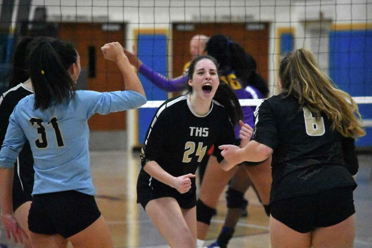 Trumbull's Lindsay Gibbs celebrates after a point in the Class LL girls volleyball state championship match between Trumbull and Westhill at East Haven high, East Have on Saturday, Nov. 23, 2019. (Pete Paguaga, Hearst Connecticut Media)