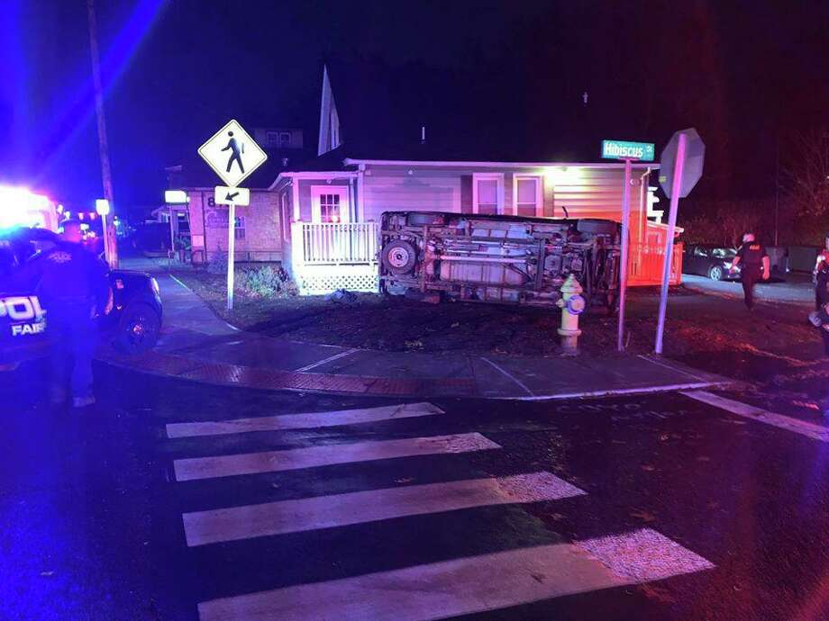 A vehicle rolled over in Fairfield, Conn., on Saturday, Nov. 23, 2019. Photo: Contributed Photo / Fairfield Police Department