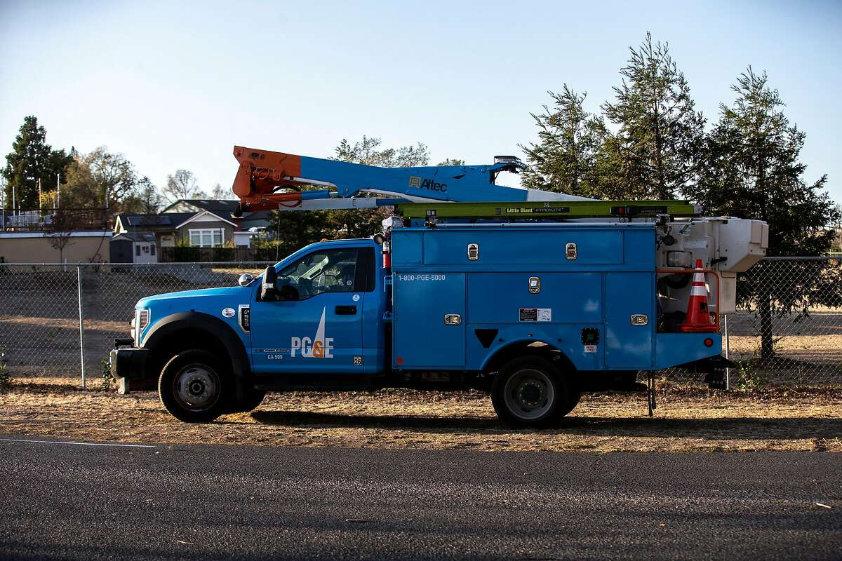 A PG&E truck along Hardman Avenue on Wednesday, Nov. 20, 2019, in Napa County, Calif. PG&E has shut off the power to more than 40,000 homes in an effort to prevent wildland fires.