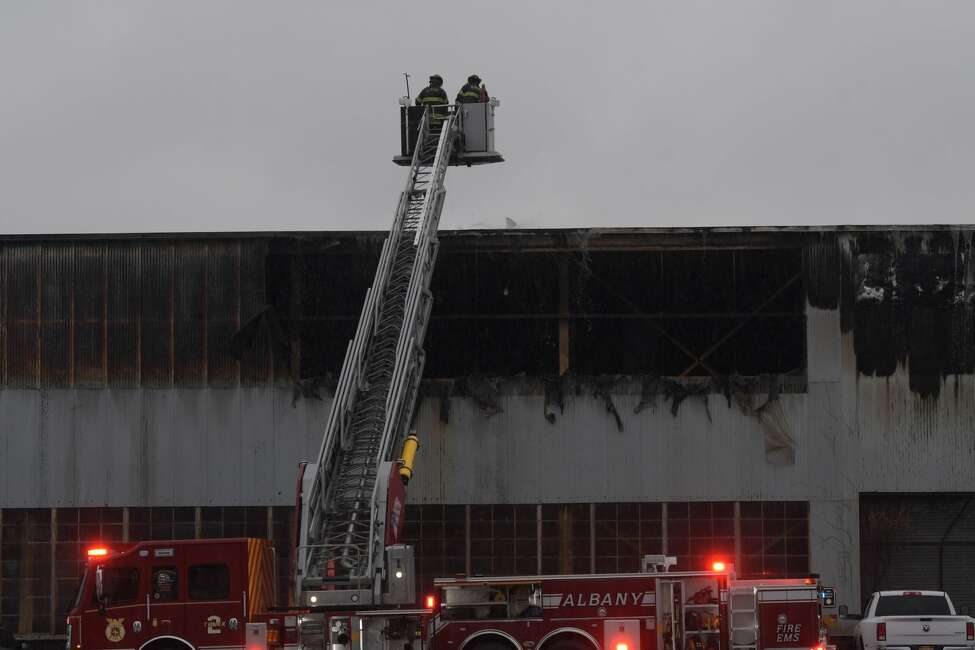 A fire in a building in the city's warehouse district off of Broadway caused extensive damage to the structure on Sunday, November 24, 2019. (Paul Buckowski / Times Union)
