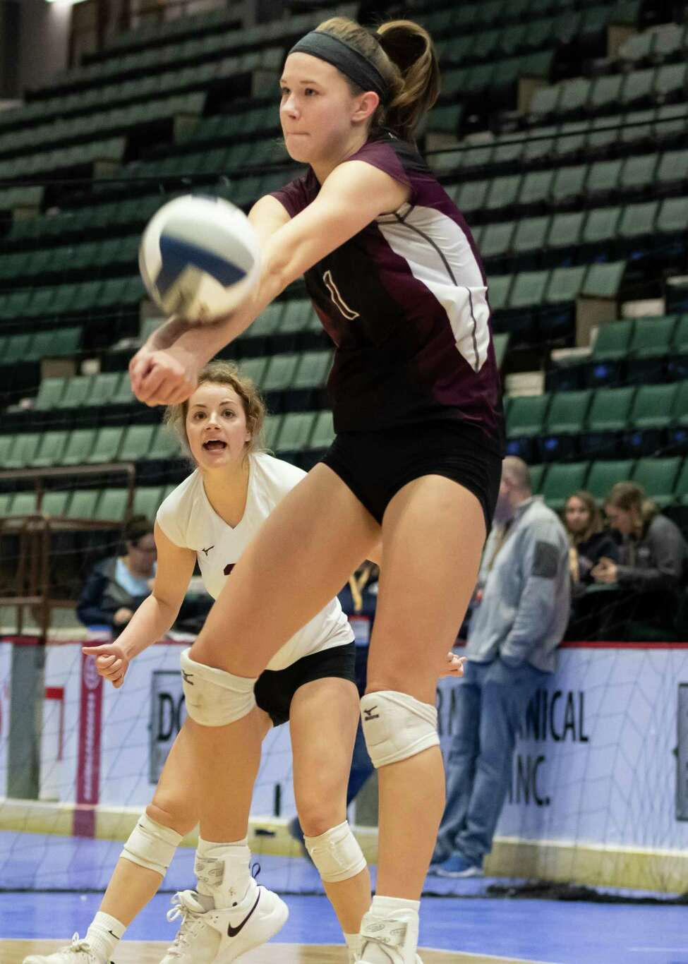 Burnt Hills's Carli Rzeszotarski bumps the ball during the Class A State Championship against West Irondequoit on Sunday, Nov. 24, 2019, at Cool Insuring Arena in Glens Falls, N.Y. (Jenn March, Special to the Times Union)