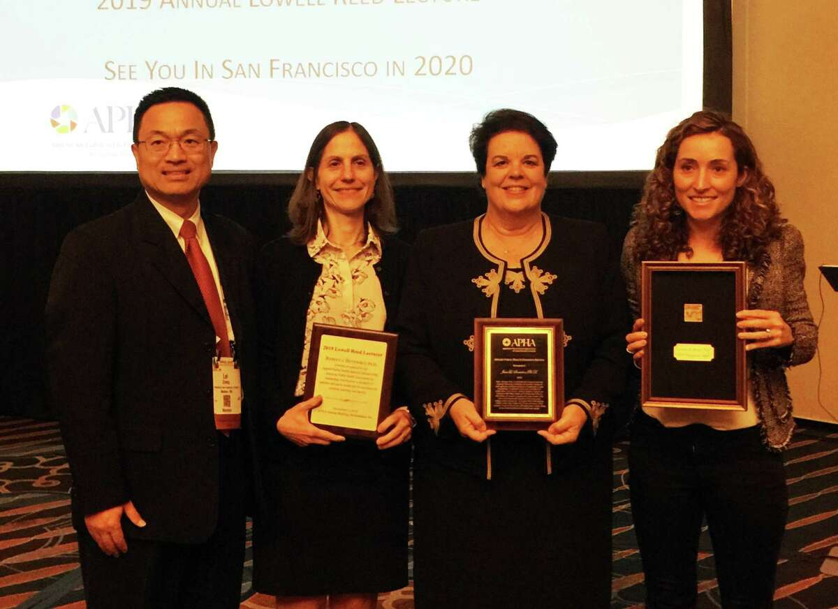 Jane L. Snowdon, of Greenwich, third from left, receives the 2019 Achievement in Industry Award from the American Public Health Association's Applied Public Health Statistics Section. She was honored for her outstanding contributions in the industry to statistics and public health. She with from left, Lei Zhang, APHS Section Chair; Rebecca Betensky, Chair of the Department of Biostatistics at NYU's College of Global Public Health; and Daniela Witten, University of Washington and APHS 2019 Mortimer Spiegelman Awardee.