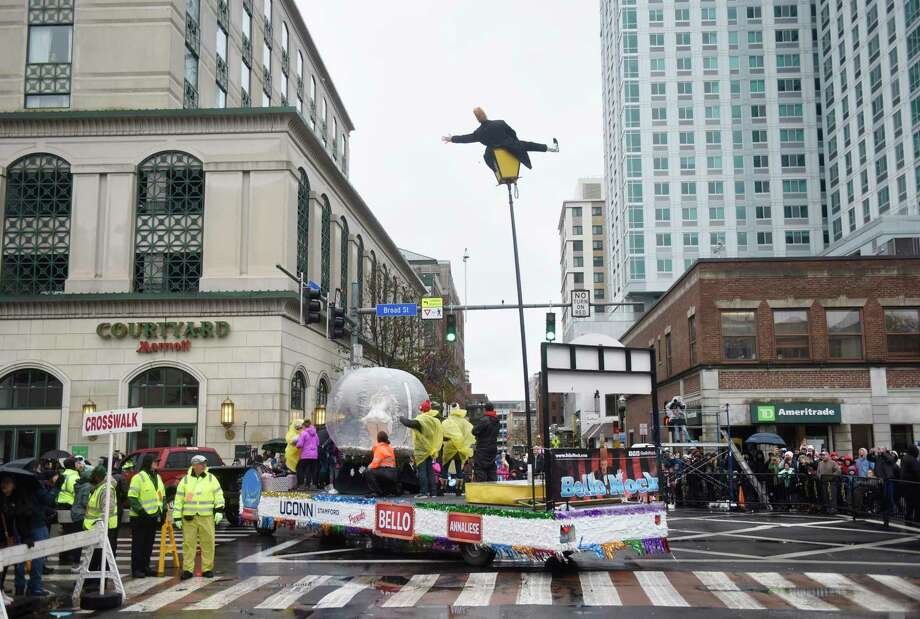 Photos from the Stamford Downtown Parade Spectacular in Stamford, Conn. Sunday, Nov. 24, 2019. The parade, sponsored by the Stamford Advocate, featured many enormous helium balloons of popular characters including Clifford, Shrek, Bob the Builder, Peppa Pig and more. In between ballons, many musical and dance performances entertained guests bearing through the cold and windy weather. Photo: Tyler Sizemore / Hearst Connecticut Media / Greenwich Time