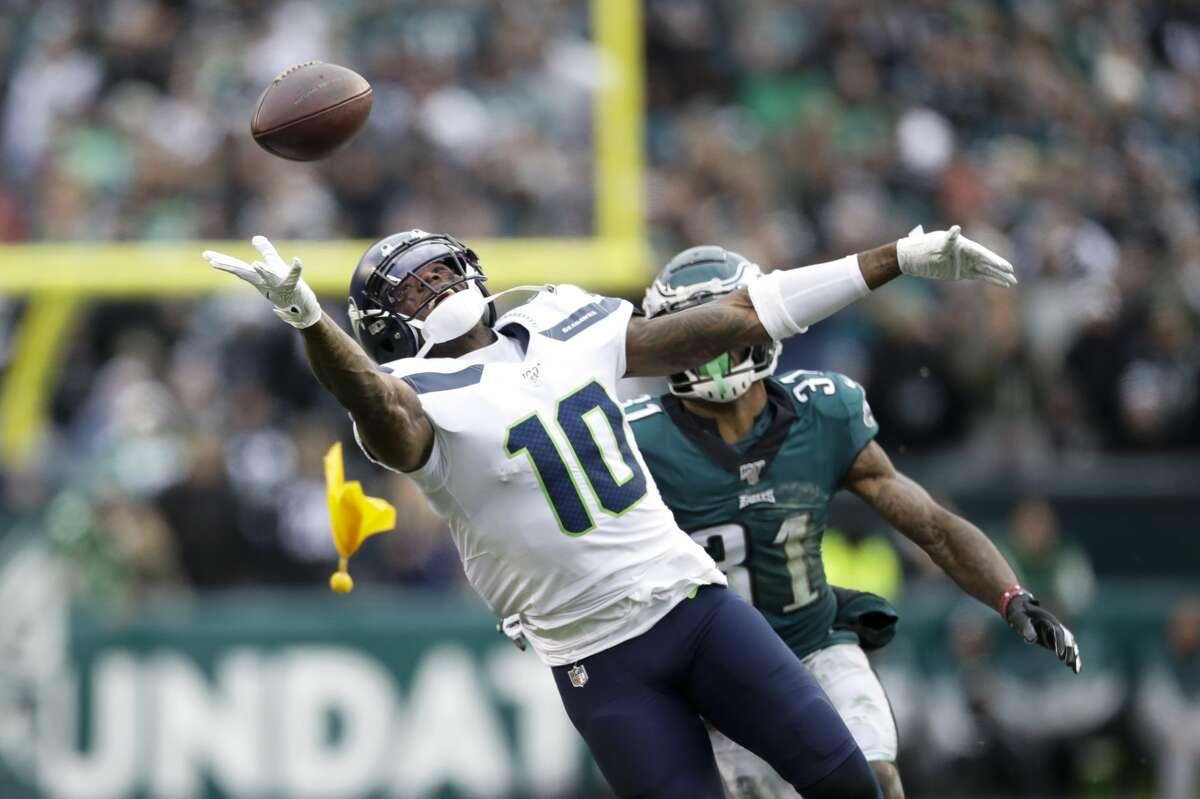 Seattle Seahawks' Josh Gordon cannot reach a pass against Philadelphia Eagles' Jalen Mills during the second half of an NFL football game, Sunday, Nov. 24, 2019, in Philadelphia. (AP Photo/Matt Rourke)