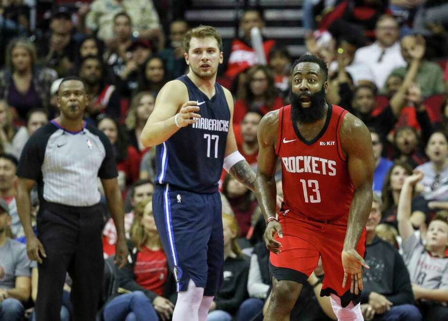 Houston Rockets guard James Harden (13) reacts to a call as Dallas Mavericks forward Luka Doncic (77) watches during the third quarter of an NBA basketball game at the Toyota Center on Sunday, Nov. 24, 2019, in Houston. Photo: Jon Shapley, Houston Chronicle / Staff Photographer / © 2019 Houston Chronicle