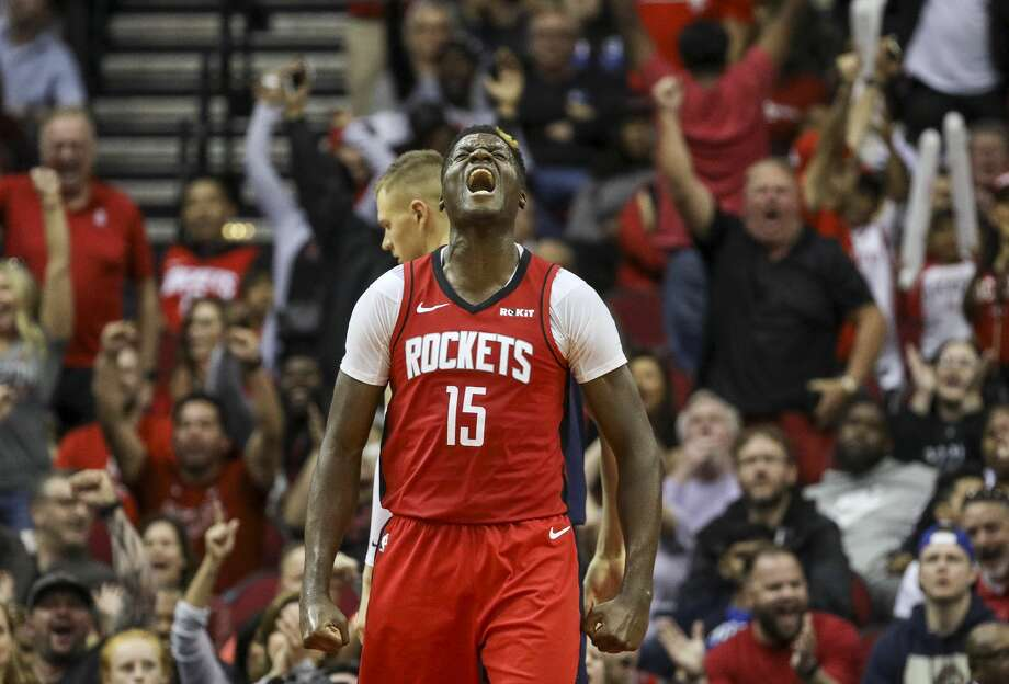 Houston Rockets center Clint Capela (15) reacts after scoring during the fourth quarter of an NBA basketball game at the Toyota Center on Sunday, Nov. 24, 2019, in Houston. Photo: Jon Shapley/Staff Photographer