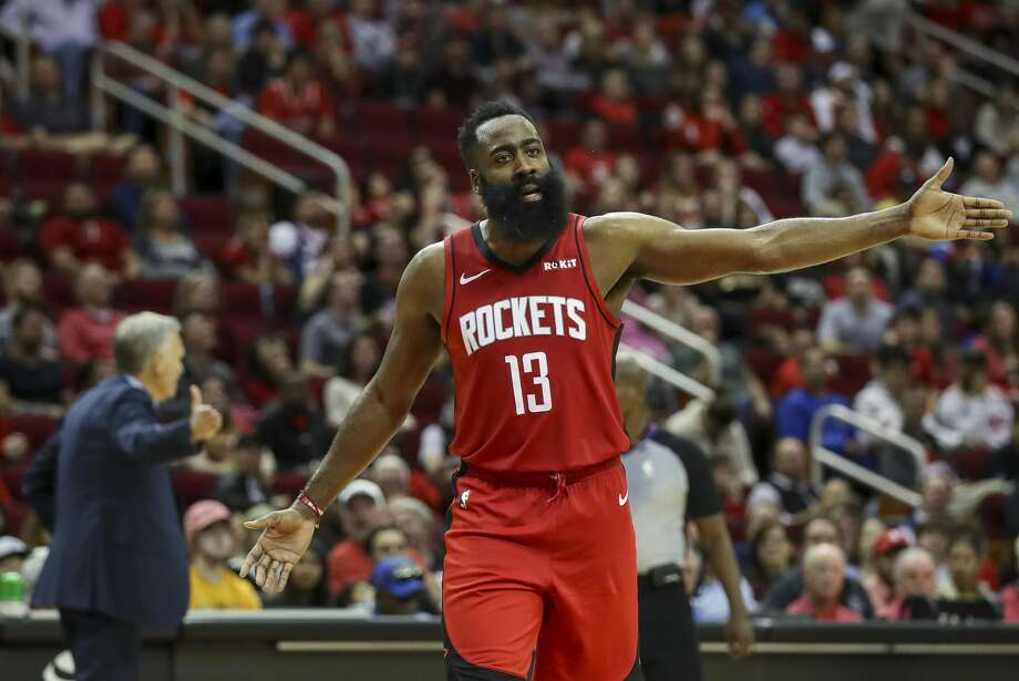 Houston Rockets guard James Harden (13) reacts to a foul call during the fourth quarter of an NBA basketball game at the Toyota Center on Sunday, Nov. 24, 2019, in Houston. Photo: Jon Shapley/Staff Photographer
